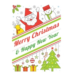 Christmas Characters Line Style Poster vector image vector image