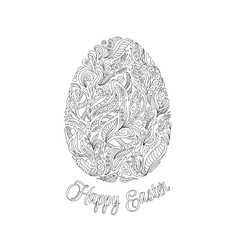 Easter egg with pattern in zentangle style vector image