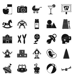 great childhood icons set simple style vector image