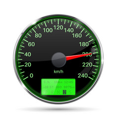 speedometer round black gauge with chrome frame vector image vector image
