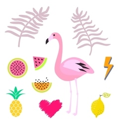Summer pink flamingo clipart icon set vector image vector image