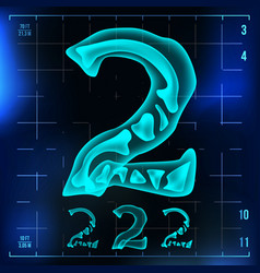 2 number two roentgen x-ray font light vector image