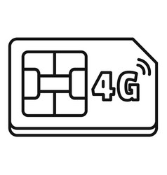 4g sim card icon outline style vector