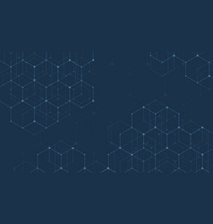 abstract lines and dots connect on blue background vector image