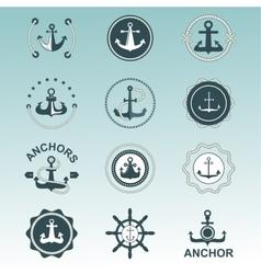 Anchor nautical symbols badges vector image vector image