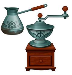 Ancient coffee grinder and cezve vintage turk vector
