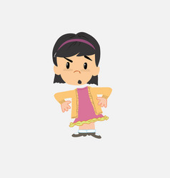 Asian girl with an expression of unpleasant vector