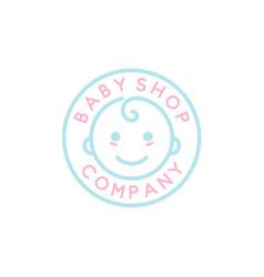 Baby toddler babies emblem badge logo design vector