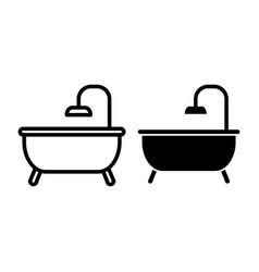 bath line and glyph icon bathroom vector image