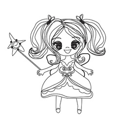Beautiful little fairy - doodle graphic vector