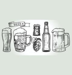 beer set engraving vector image