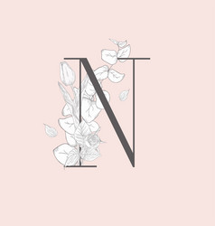 blooming floral elegant n monogram and logo vector image