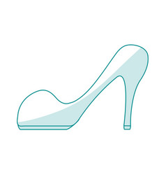 Blue silhouette shading cartoon high heels shoes vector
