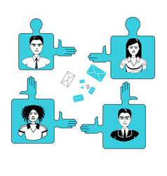Business people team on puzzle pieces cooperation vector