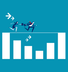 business team running rope above graph concept vector image