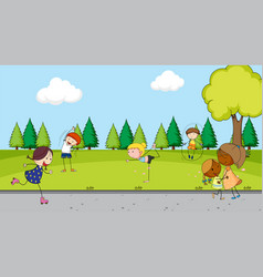 children at park vector image