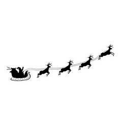 christmas black silhouette santa riding sleigh vector image