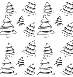 christmas pine tree star lights decoration vector image