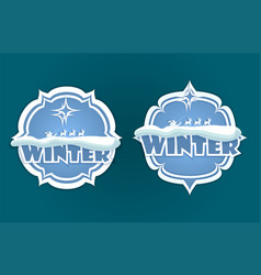 Christmas sign of blue hue with text vector