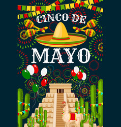 Cinco de mayo mexican sombrero greeting vector