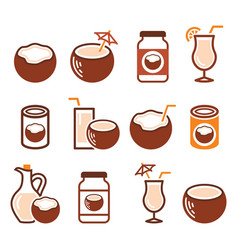 coconut milk oil cocktail - healthy food vector image
