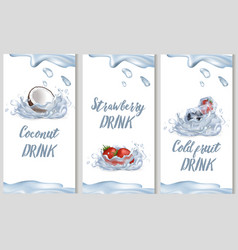 Coconut sweet strawberry and cold fruit drinks vector