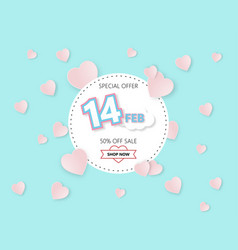 creative happy valentines day sale offer banner vector image