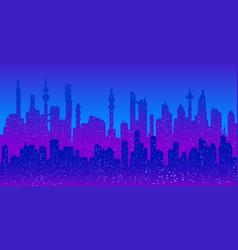 Cyberpunk futuristic cityscape silhouette vector