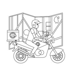 delivery guy in motorcycle vector image