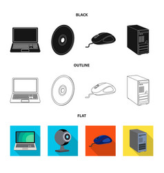 Design of laptop and device logo set of vector
