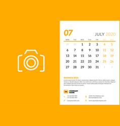 Desk calendar template for july 2020 week starts vector