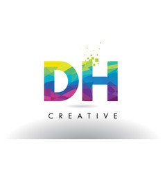 Dh d h colorful letter origami triangles design vector