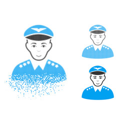 Dissipated pixel halftone military pilot officer vector