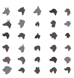 Dog head silhouette icon set different dos breed vector