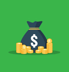 Dollar pile coins icon gold golden stack and vector