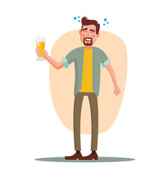 Drunk office worker have fun cheers party vector