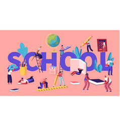 education concept with tiny male and female vector image