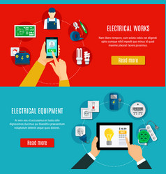 Electrical equipment and electrician banners vector