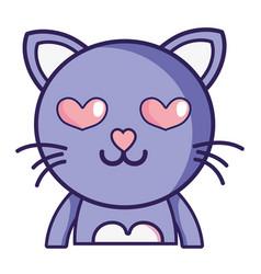 Enamored cat adorable feline animal vector