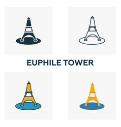 Euphile tower icon set four elements in diferent vector
