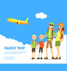 family trip banner template happy parents and vector image