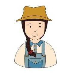 Farmer girl overall icon vector