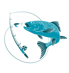 Fish jumping for bait and fishing rod vector