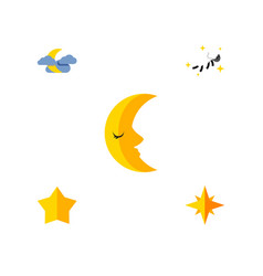 Flat icon bedtime set of starlet asterisk night vector