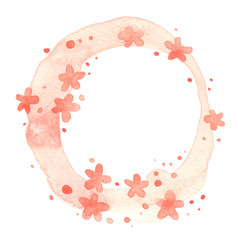 flower blossom pink color wreath watercolor vector image