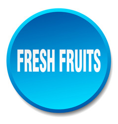 Fresh fruits blue round flat isolated push button vector