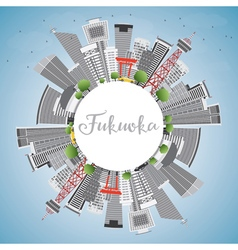 Fukuoka Skyline with Gray Landmarks vector