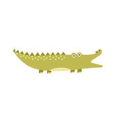 funny alligator with open mouth isolated element vector image