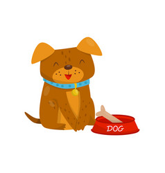 funny dog sitting next to a bowl of food cute vector image