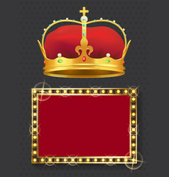 glowing lamp frame and golden royal crown vector image